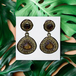Ethnic danglers with amber stone & gold stones